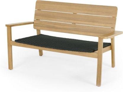 An Image of Jala Garden Lounge Bench, Acacia Wood and Spun Polyester
