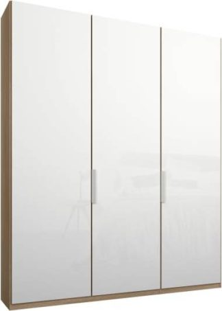 An Image of Caren 3 door 150cm Hinged Wardrobe, Oak Frame, White Glass Doors, Standard Interior