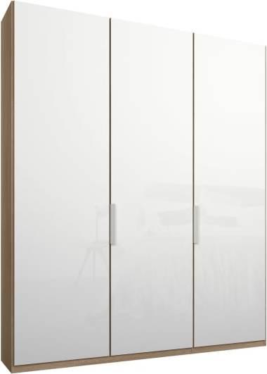 An Image of Caren 3 door 150cm Hinged Wardrobe, Oak Frame, White Glass Doors, Standard Interior