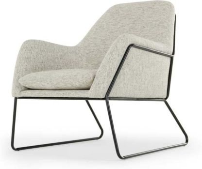An Image of Frame Accent Armchair, Basketweave Grey