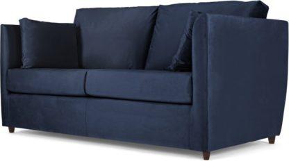 An Image of Milner Sofa Bed with Foam Mattress, Regal Blue Velvet
