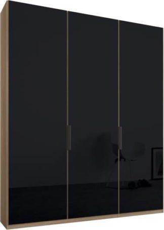 An Image of Caren 3 door 150cm Hinged Wardrobe, Oak Frame, Basalt Grey Glass Doors, Standard Interior