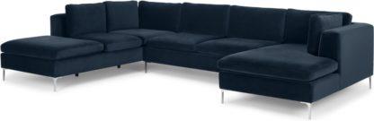 An Image of Monterosso Left Hand Facing Corner Sofa, Sapphire Blue Velvet