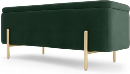 An Image of Asare upholstered storage bench, Pine Green and Brass