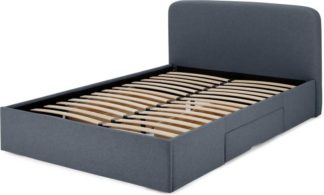 An Image of MADE Essentials Besley Double Bed with Storage Drawers, Aegean Blue