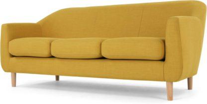 An Image of Tubby 3 Seater Sofa, Retro Yellow