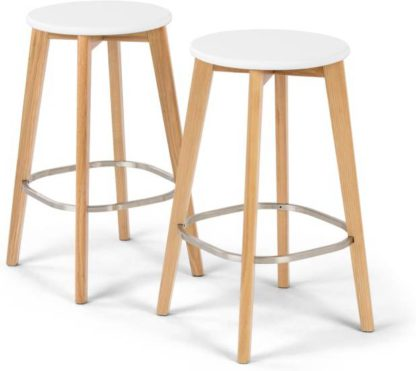 An Image of Set of 2 Fjord Bar Stool, Oak and White