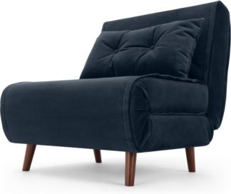 An Image of Haru Single Sofa Bed, Sapphire Blue Velvet