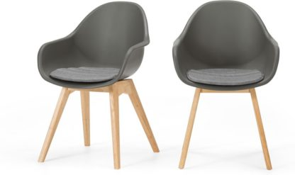 An Image of Set of 2 Boone Dining Chairs, Grey and Oak Finish