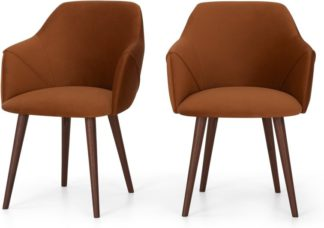 An Image of Set of 2 Lule Carver Dining Chairs, Rust Velvet and Walnut
