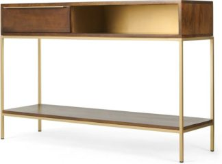 An Image of Anderson Console Table, Mango Wood and Brass