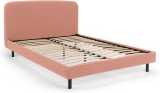 An Image of MADE Essentials Besley Double Bed, Dusk Pink