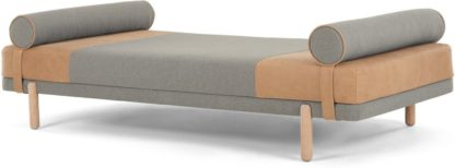An Image of Assim Daybed, Tan Leather and Manhattan Grey