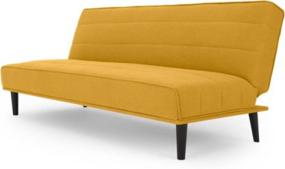 An Image of MADE Essentials Kitto Click Clack Sofa Bed, Butter Yellow