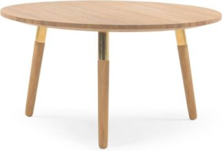 An Image of Range Round Coffee Table, Solid Oak and Brass