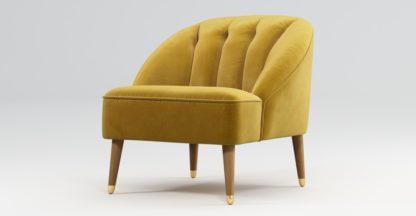 An Image of Custom MADE Margot Armchair, Antique Gold Velvet, Light Wood Brass Leg