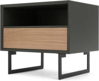 An Image of Lincoln Bedside Table, Oak & Grey