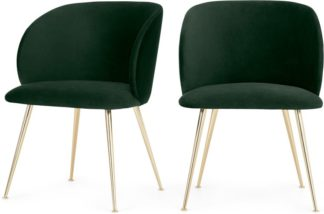 An Image of Set of 2 Adeline Carver Dining Chairs, Pine Green Velvet and Brass