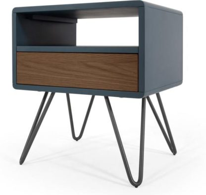 An Image of Ukan Bedside Table, Blue and Dark Stain Oak