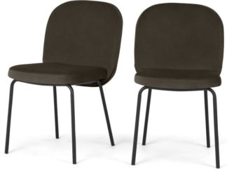 An Image of Set of 2 Safia Dining Chairs, Otter Grey Velvet