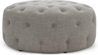 An Image of Hampton Large Round Pouffe, Linen Mix Grey