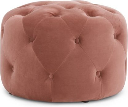 An Image of Hampton Small Round Pouffe, Blush Pink Velvet