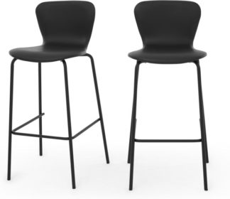 An Image of Set of 2 Luno Barstool, Black PU