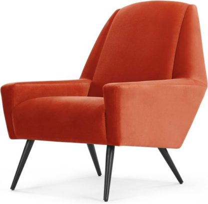 An Image of Roco Accent Chair, Retro Orange Velvet