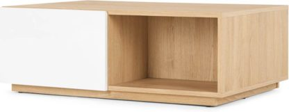 An Image of MADE Essentials Hopkins Coffee Table, Oak and White