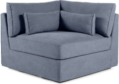 An Image of Trent Loose Cover Modular Corner Seat, Washed Blue Cotton
