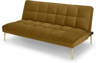 An Image of Hallie Click Clack Sofa Bed, Saffron Yellow Velvet with Brass Legs