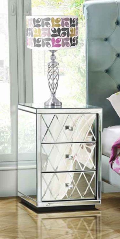 An Image of KNIGHTSBRIDGE Mirrored Bedside Table with 3 Drawers