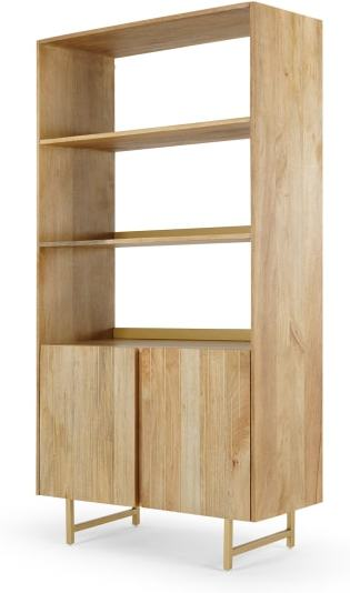 An Image of Aphra Bookcase with Cupboard, Light Mango Wood and Brass Inlay