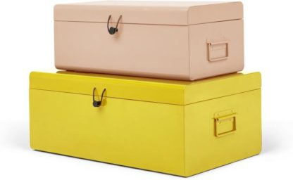 An Image of Daven Set of 2 Metal Storage Box Trunks, Pink & Yellow