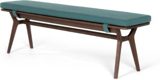 An Image of Jenson Bench, Dark stain Oak and Mineral Blue