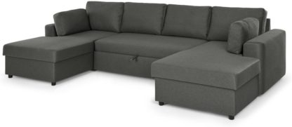 An Image of Aidian Large Corner Sofa Bed with Storage, Pigeon Grey