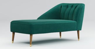 An Image of Custom MADE Margot Left Hand Facing Chaise, Teal Cotton Velvet with Light Wood Brass Leg