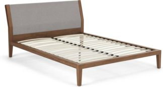 An Image of Lansdowne Kingsize Bed, Walnut And Cool Grey
