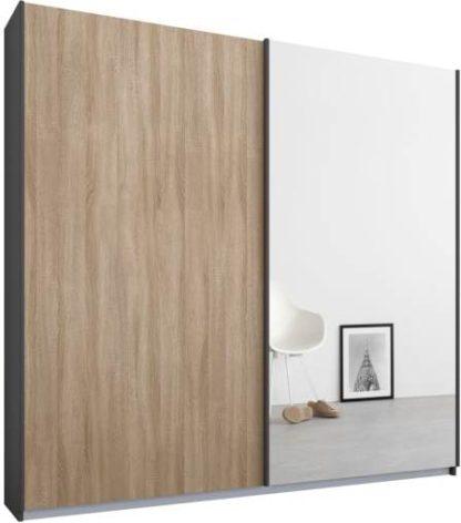 An Image of Malix 2 door 181cm Sliding Wardrobe, Graphite Grey frame,Oak & Mirror doors, Standard Interior