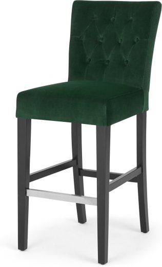 An Image of Flynn Bar Stool, Pine Green Velvet and Black