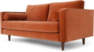 An Image of Scott Large 2 Seater Sofa, Burnt Orange Cotton Velvet