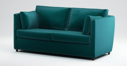 An Image of Custom MADE Milner Sofa Bed with Memory Foam Mattress, Tuscan Teal Velvet