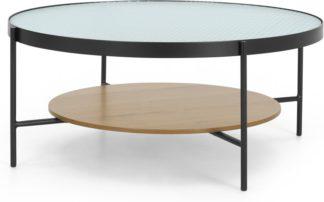 An Image of Kameko Coffee table, Oak and Textured Glass