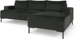 An Image of Frederik 3 Seater Right Hand Facing Compact Corner Chaise End Sofa, Dark Anthracite Velvet