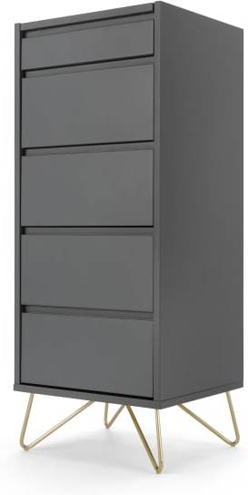 An Image of Elona Vanity Chest Of Drawers, Charcoal and Brass