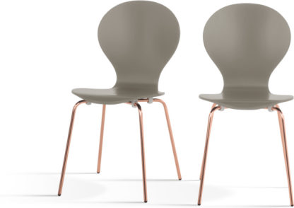 An Image of Set of 2 Kitsch Dining Chairs, Willow Grey and Copper Legs