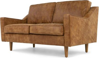 An Image of Dallas 2 Seater Sofa, Outback Tan Premium Leather
