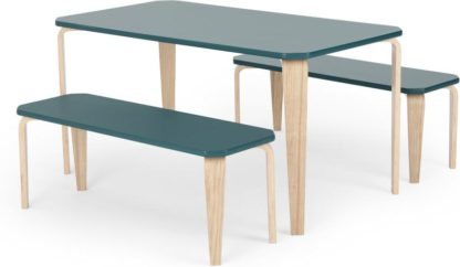An Image of MADE Essentials Alma Dining Bench Set, Teal Top and Ash legs