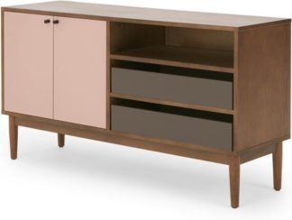 An Image of Campton Compact Sideboard, Dark Stain Oak and Pink
