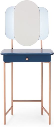 An Image of Maddie Dressing Table, Dark Blue and Copper